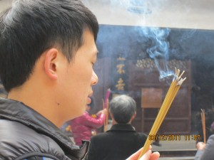 man with incense