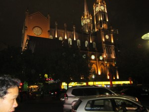 Illuminated church in Zhongsha nSquare
