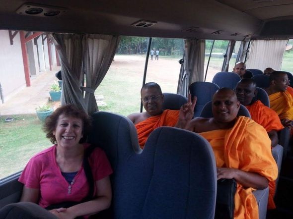monks on a bus