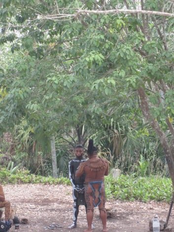 People in Maya dress at Ek Balam