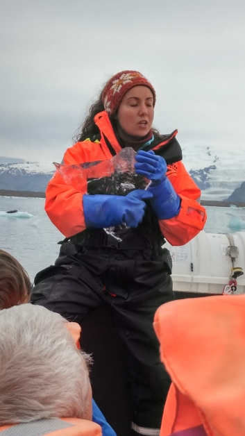 Soraya our guide breaks a block of ice and gives us bits
